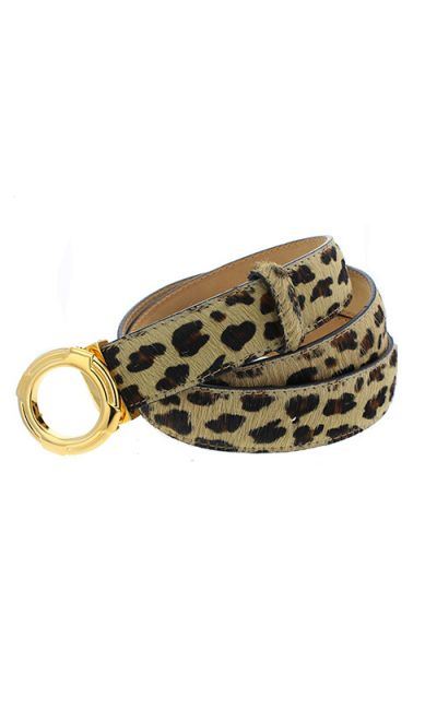 Poulain Leather Belt - Brown Leopard Print